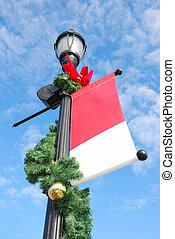 holiday streetlight - streetlight with holiday decoration...
