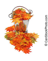 Colorful fall Leaves in ice bucket