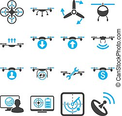 Quadcopter service icon set designed with blue and gray...