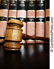 court gavel with law books