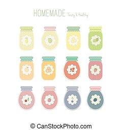 Set of jam jars with labels
