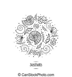 Vector illustration with ammonites and sea shells in sketch...