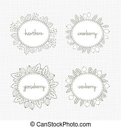 Collection of frames with berries and leaves - Vector set of...