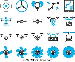 Air drone and quadcopter tool icons Icon set style: flat...
