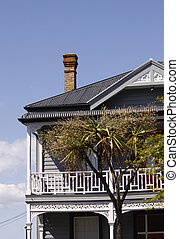 old historic two storey building - detail of an old historic...