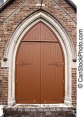 old church door in Auckland, New Zealand - close-up photo...