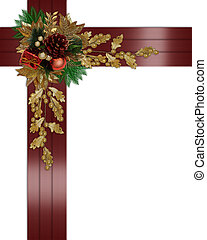 Christmas border elegant red ribbons - Image and...