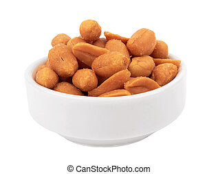 peanuts isolated in bowl on white background