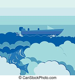 vector illustration background water and cloud with...
