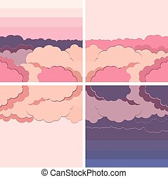 vector set illustration background water and cloud in...