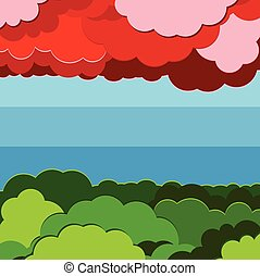 vector illustration background forest, sky and cloud