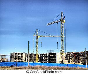 construcción, de, nuevo, hogares,