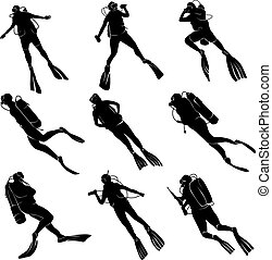 Set silhouettes of divers. - Set of silhouettes scuba diving...