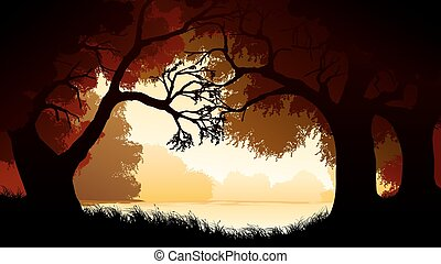 Illustration within forest - Vector horizontal illustration...