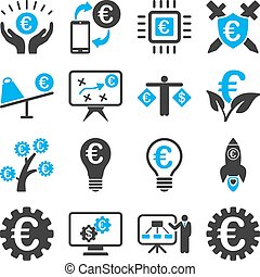 Euro banking business and service tools icons. These flat...
