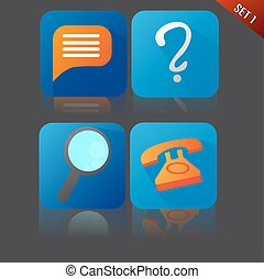 Set of Blue Flat Icons With Chat an