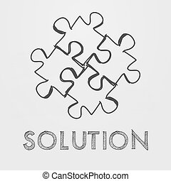 solution and puzzle pieces in hand-drawn style - solution...