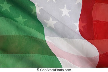 Italian and USA flags - USA flag layered over an Italian...