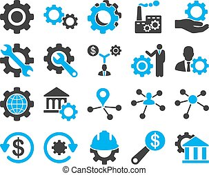Settings and Tools Icons. Vector set style: bicolor flat...