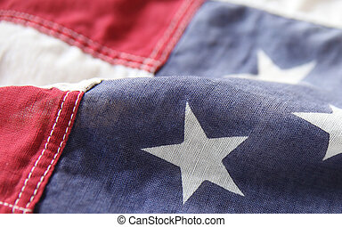 USA flag close-up - detail of an old American flag