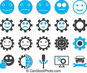 Tools and Smile Gears Icons Vector set style: bicolor flat...