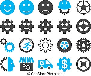 Tools and Smile Gears Icons. Vector set style: bicolor flat...