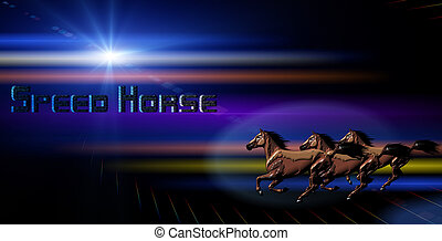 Horse with abstract Background effect with light and space...
