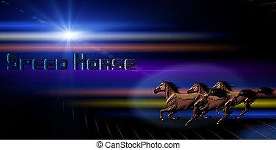 caballo, con, Extracto, Plano de fondo,