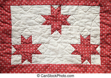 quilted star piece - three eight-point quilted stars with a...