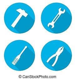 set blue tools icons - This is set blue tools icons