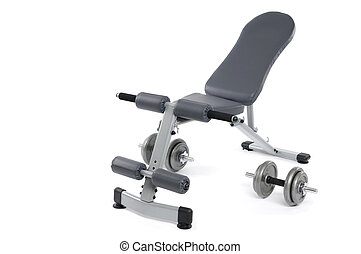 Exercise bench and dumbbells Gym equipment isolated on white...