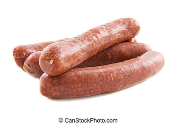 Fresh sausage - Raw red sausage isolated on a white...