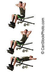 Bench Sit Ups - Bench sit up exercise Studio shot over white...