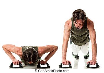 Push Ups - Push up exercise Studio shot over white