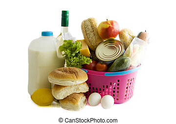 Grocery busket - Basket filled with groceries isolated over...