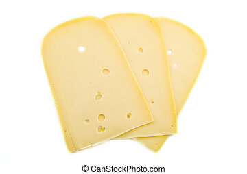 Slices of cheese - Yellow dutch cheese with holes isolated...