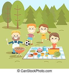 Family weekend. Happy family picnic.
