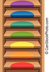Staircase Colored Mats Colors - Staircase with seven rainbow...