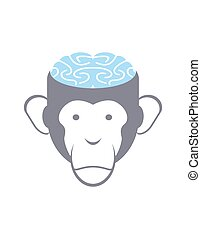 Monkey brain Blue Animal Head vector illustration Logo for...