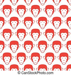 Monkey seamless pattern. Head of animal vector background.