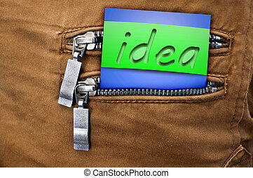 The idea in the pocket - A poster with the word...