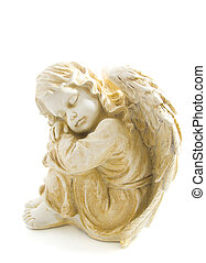 Angel of heaven - Angel with wings isolated on a white...