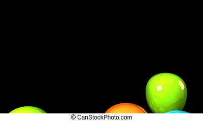 Colorful Balloons On Black Background.