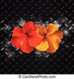 Hibiscus on metallic diamond plate - Hibiscus Red and Yellow...