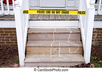 Crime Scene - Chalk outline of a body ar a crime scene