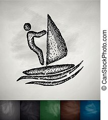 windsurfing icon. Hand drawn vector illustration. Chalkboard...