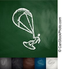 kitesurfing icon. Hand drawn vector illustration. Chalkboard...
