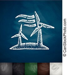 wind turbine icon Hand drawn vector illustration Chalkboard...