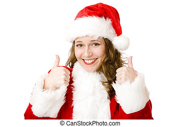 Happy Santa Claus woman with Christmas costume shows thumbs up