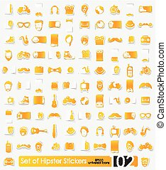 Set of hipster stickers - hipster vector sticker icons with...